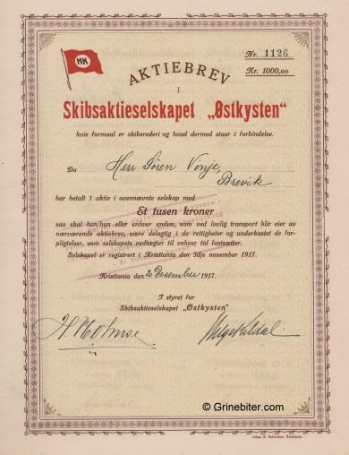 Østkysten SkibsA/S Stock Certificate Aksjebrev