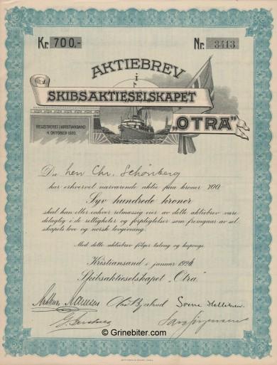 Otra SkibsA/S Stock Certificate Aksjebrev