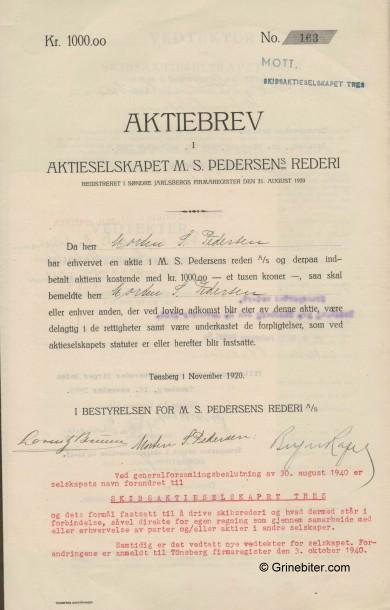Pedersens Rederi Stock Certificate Aksjebrev
