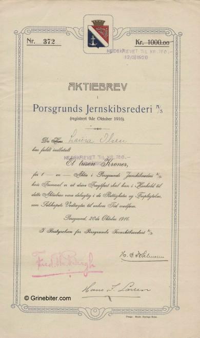 Porsgrunds JernskipsRed Stock Certificate Aksjebrev