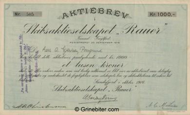 Rauer SkibsA/S Stock Certificate Aksjebrev