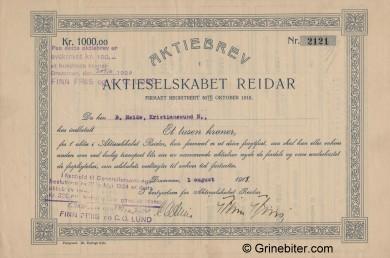Reidar A/S Stock Certificate Aksjebrev