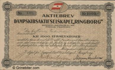 Ringborg D/S A/S Stock Certificate Aksjebrev