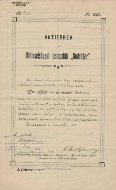 Rødskjær D/S A/S Stock Certificate Aksjebrev