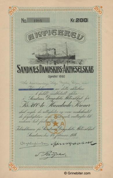 Sandnæs D/S A/S Stock Certificate Aksjebrev
