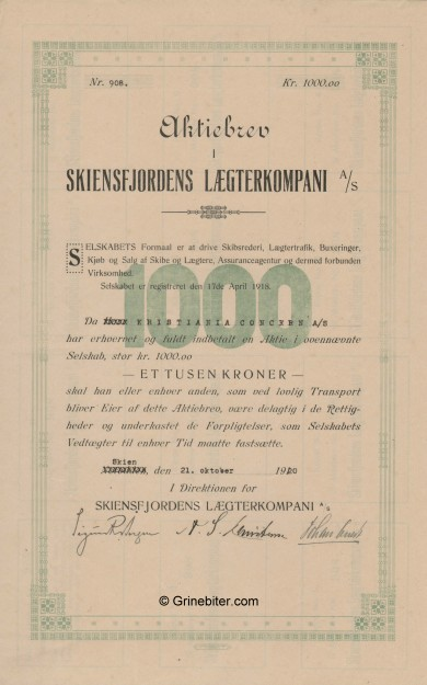 Skiensfjordens LækterKo. Stock Certificate Aksjebrev