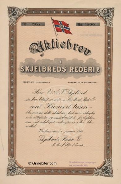 Skjelbreds Rederi Stock Certificate Aksjebrev
