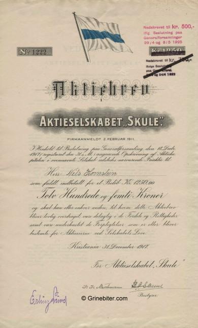 Skule A/S Stock Certificate Aksjebrev