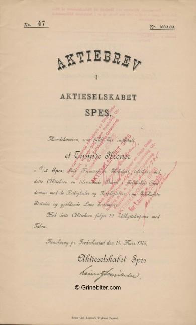 Spes A/S Stock Certificate Aksjebrev