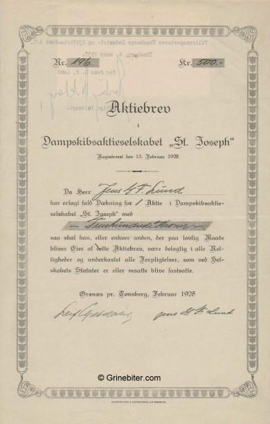 St. Joseph D/S A/S     Stock Certificate Aksjebrev