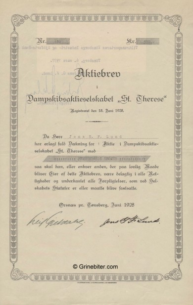 St.Therese D/S A/S Stock Certificate Aksjebrev