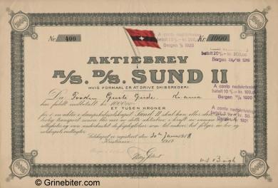 Sund II D/S A/S Stock Certificate Aksjebrev
