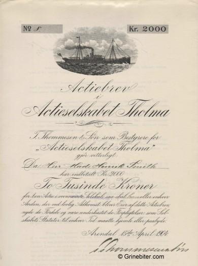 Tholma aksjebrev old stock Certificate