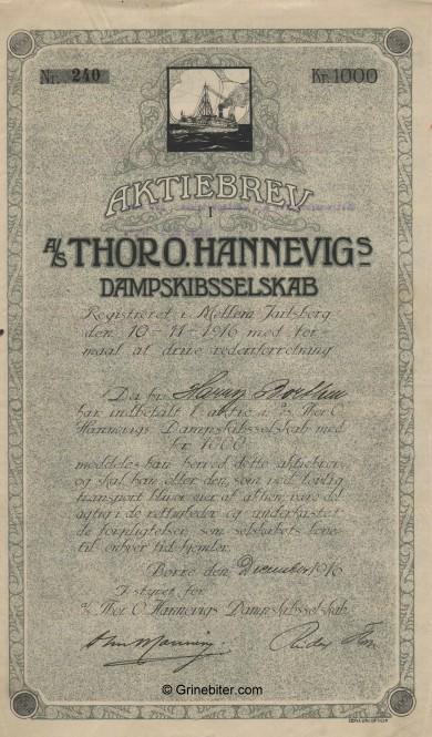 Thor O. Hannevigs dampskibsselskap aksjebrev old stock Certificate
