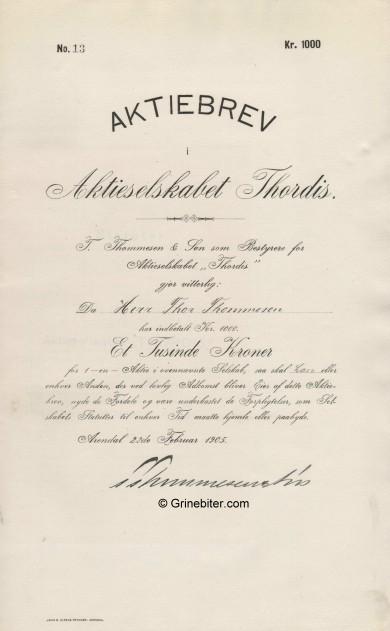 Thordis A/S Stock Certificate Aksjebrev