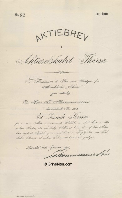 Thorsa A/S Stock Certificate Aksjebrev