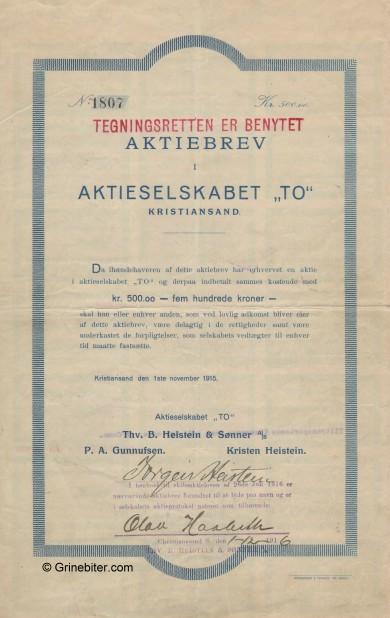 TO aksjebrev stock Certificate