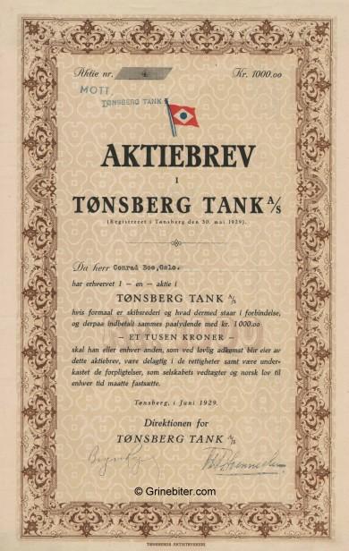 Tønsberg Tank A/S Stock Certificate Aksjebrev