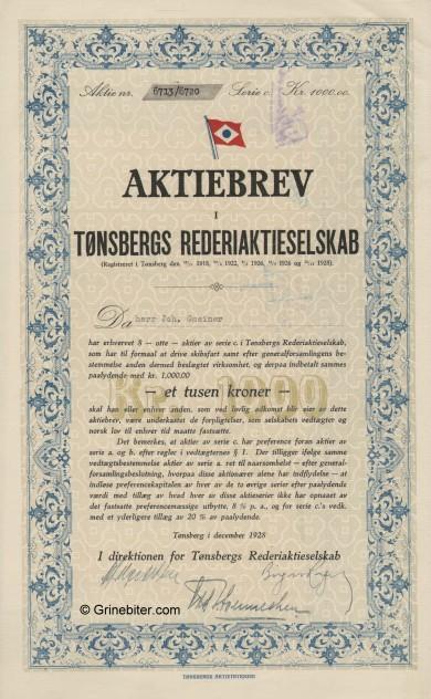 Tønsbergs RederiA/S Stock Certificate Aksjebrev