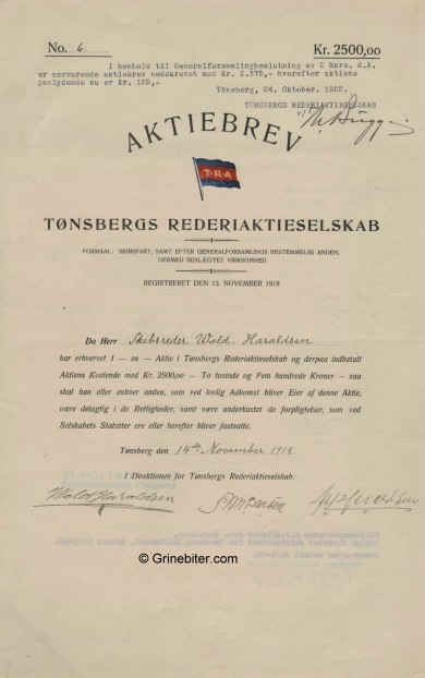 Tønsbergs Rederi A/S Stock Certificate Aksjebrev