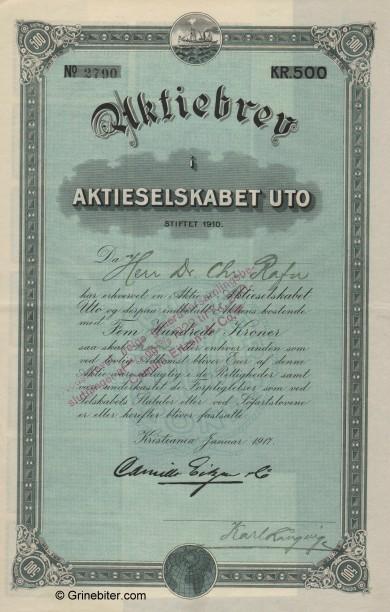 Uto aksjebrev old stock Certificate
