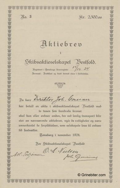 Vestfold Skibs A/S Stock Certificate Aksjebrev