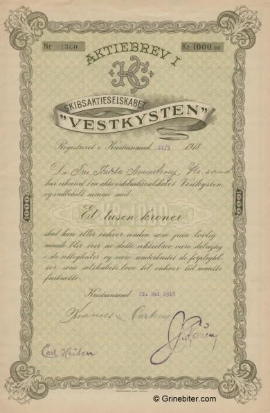 Vestkysten Skibs A/S Stock Certificate Aksjebrev