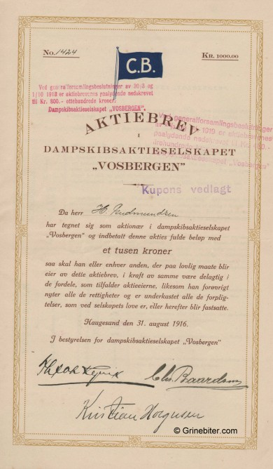 Vosbergen D/S A/S Stock Certificate Aksjebrev