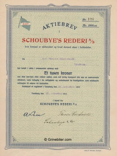 Schoubyes Rederri A/S Stock Certificate Aksjebrev