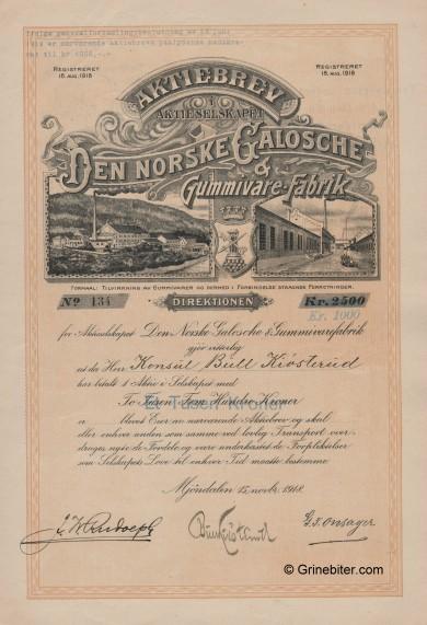 Den Norske Galoge & Gummivare-Fabrik Stock Certificate Aksjebrev
