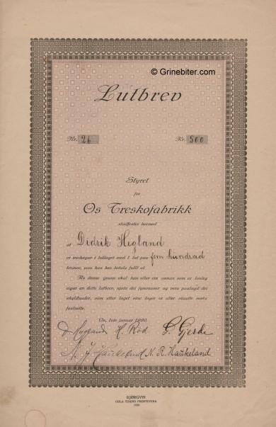 Os Treskofabrikk Stock Certificate Aksjebrev