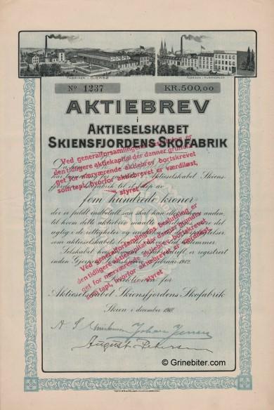 Skiensfjordens Skofabrik Stock Certificate Aksjebrev