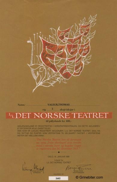 Det Norske Teatret Stock Certificate Aksjebrev
