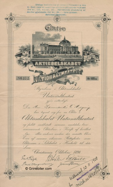 Nationaltheateret A/S Stock Certificate Aksjebrev