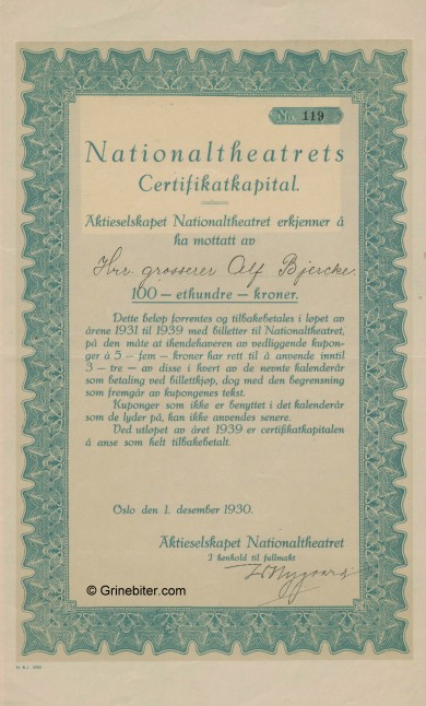Nationaltheatrets Certifkatkapital Stock Certificate Aksjebrev