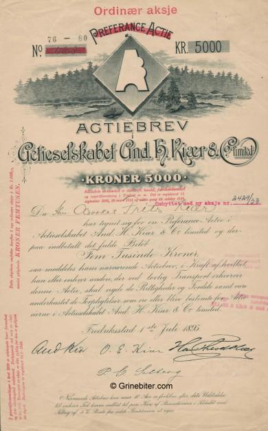 And. H. Kiær & Co Limited  Stock Certificate Aksjebrev