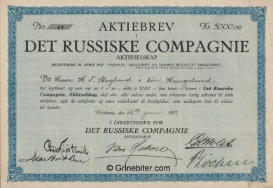 Det Russiske Compagnie Stock Certificate Aksjebrev