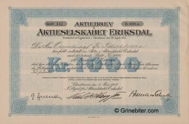 Eriksdal A/S Stock Certificate Aksjebrev