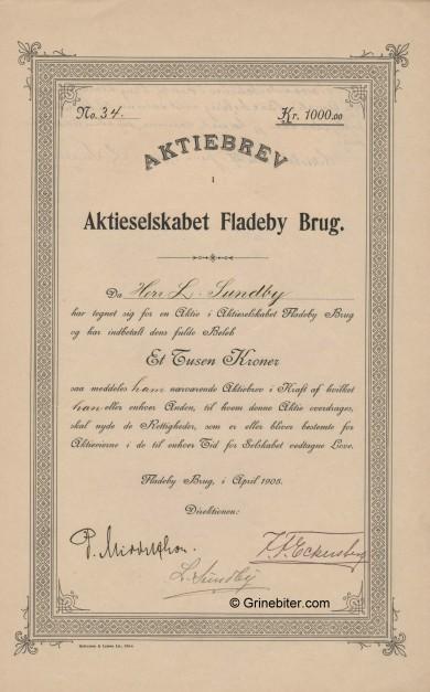 Fladeby Brug A/S Stock Certificate Aksjebrev