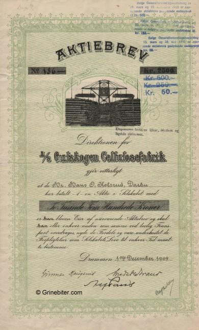 Gulskogen Cellulose Fab. Stock Certificate Aksjebrev