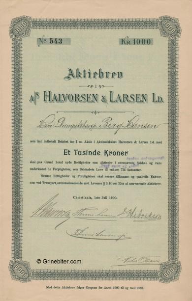 Halvorsen & Larsen aksjebrev old stock Certificate