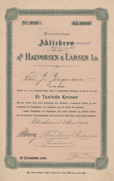 Halvorsen & Larsen LD Stock Certificate Aksjebrev