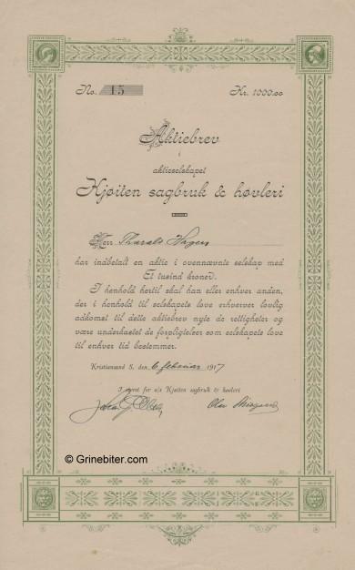 Kjøilen Sagbruk & Høvleri Stock Certificate Aksjebrev