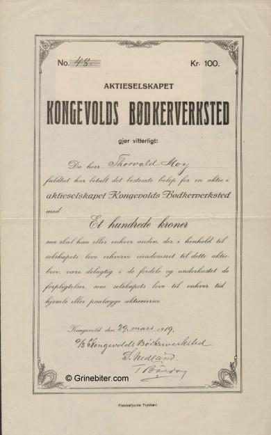 Kongevolds Bødkerverks. Stock Certificate Aksjebrev