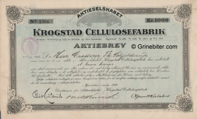 Krogstad Cellulose Fab. Stock Certificate Aksjebrev