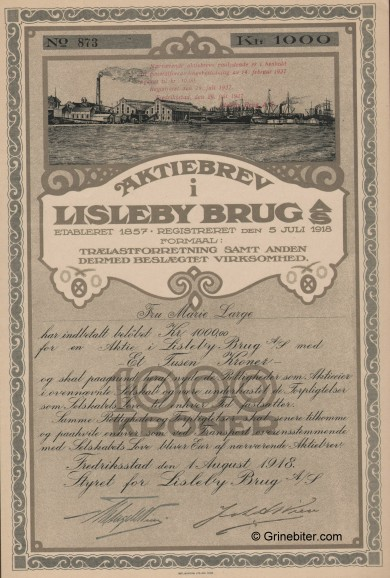 Lisleby Bruug A/S Stock Certificate Aksjebrev