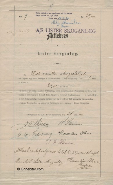 Lister Skoganlæg Stock Certificate Aksjebrev