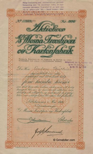 Mesna Træsliperi og Kart. Stock Certificate Aksjebrev