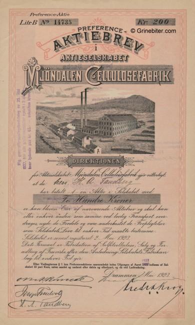 Mjøndalen Cellulose. Fab. Stock Certificate Aksjebrev