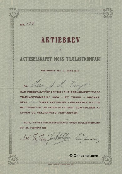 Moss Trælastkompani A/S Stock Certificate Aksjebrev